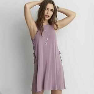 American Eagle Soft & Sexy Lace Up Purple Dress